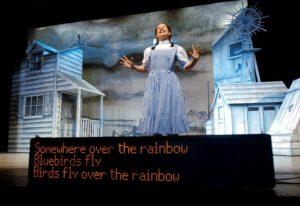 zdjecie ekranu w kinie z systemem napisów dla słabosłyszących