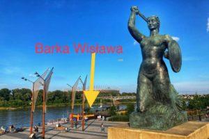 Zdjęcie pokazujące miejsce postoju Barki Wisławy na rzece Wiśle w Warszawie